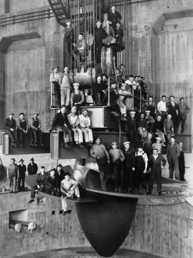Workmen on the Giant Turbine in the Powerhouse of the Bonneville Dam, Ca. 1937