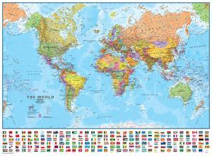 World 1:30 Wall Map, Laminated Educational Poster