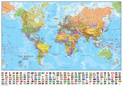 World 1:40 Wall Map, Laminated Educational Poster