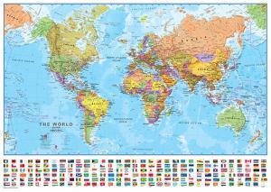 World 1:40 Wall Map, Laminated Educational Poster