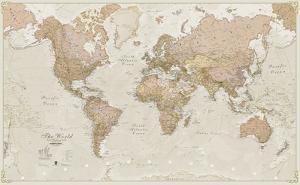 World Antique Megamap 1:20, Laminated Wall Map