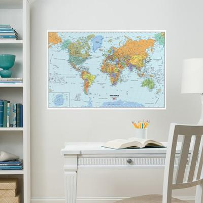 World Dry-Erase Map Wall Decal Sticker