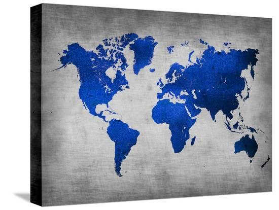 World  Map 10-NaxArt-Stretched Canvas