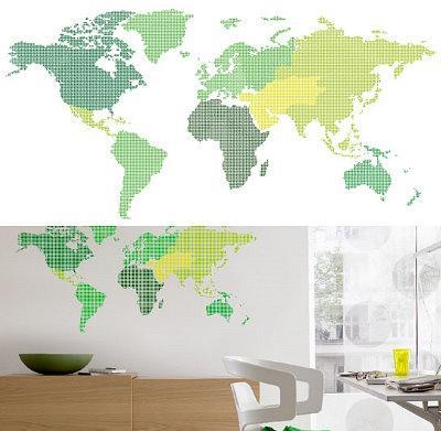 World Map 13 Wall Stickers. Wall Decal