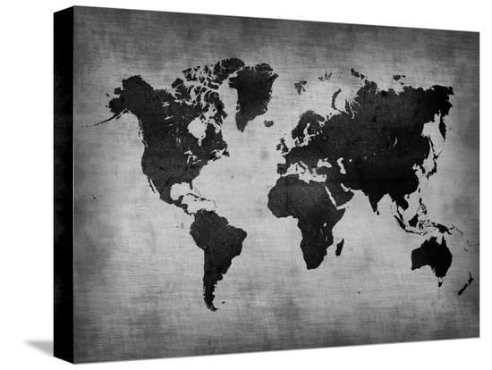 World  Map 8-NaxArt-Stretched Canvas Print