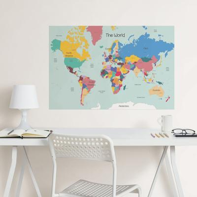 World Map Coloring Wall Decal