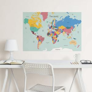 Map wall decals posters for sale at allposters world map coloring wall decal gumiabroncs Images