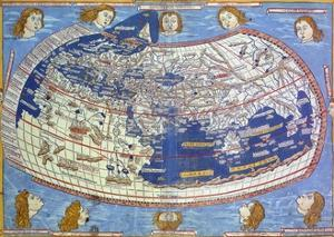 World Map from Cosmographia by Nicolaus Germanus