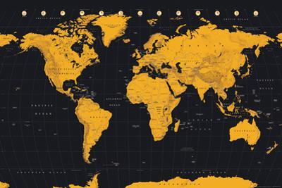 World Map Gold & Black