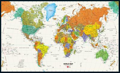 World Map Physical And Political Poster
