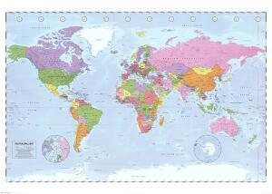 World Map (Political, Time Zones)