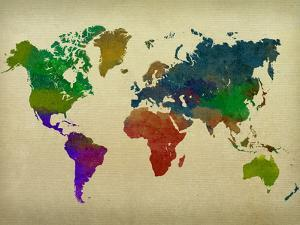 World maps posters for sale at allposters world map watercolor gumiabroncs Choice Image