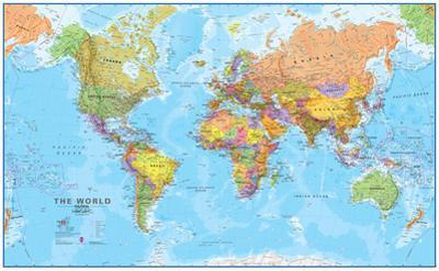 World MegaMap 1:20 Wall Map, Laminated Educational Poster