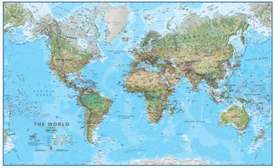 World Physical 1:30 Wall Map, Educational Poster