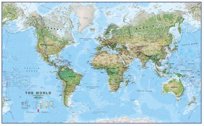 World Physical Megamap 1:20, Laminated Wall Map