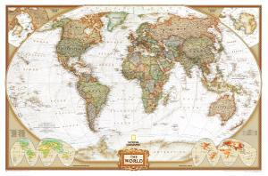 World maps posters for sale at allposters world political wall map executive style antique tones educational enlarged poster gumiabroncs Choice Image