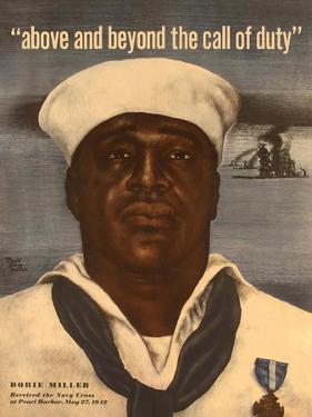 World War 2 Poster with a Portrait of Doris 'Dorie' Miller