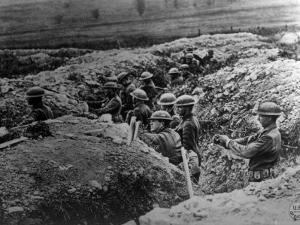 World War I, American 132nd Infantry, 33rd Division, in a Trench at Alexandre, Meuse, France, 1918
