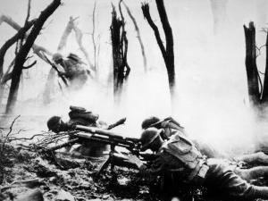 World War I, American Machine Gunners in Battle, 1918