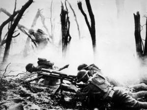 World War I, American Machine Gunners in Battle, 1918