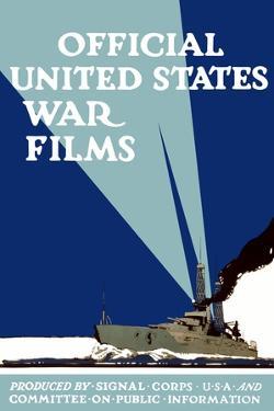 World War I Propaganda Poster of a Navy Ship Shining It'S Searchlights