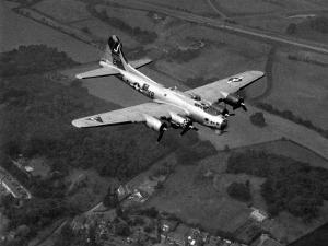 """World War II B-17 """"Flying Fortress"""", """"Sally B"""" in Flight After Blow Out, July 1983"""