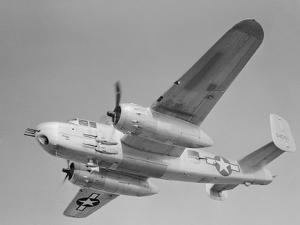 World War II B-25 Aircraft Training in Sky