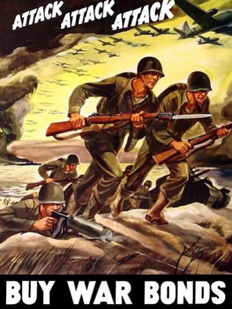 World War II Propaganda Poster of Soldiers Assaulting a Beach with Rifles
