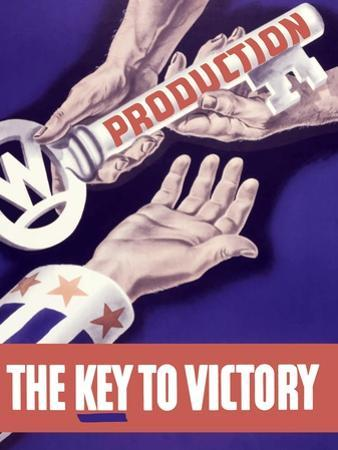 World War II Propaganda Poster of Someone Giving a Large Key to the Hand of Uncle Sam