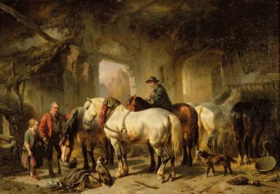 Horses Feeding in the Stable