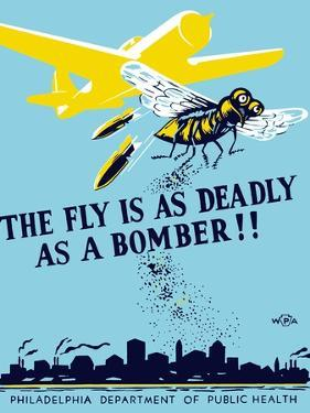 Wpa Propaganda Poster of a Bomber Plane and a Fly Dropping Germs