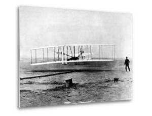 "Wright Brothers Wilbur and Orville with 1903 Airplane ""Kitty Hawk"" on First Flight"