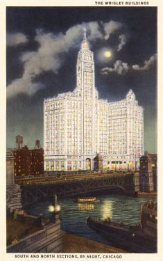 Wrigley Building at Night, Chicago, Illinois