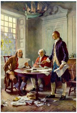 Writing the Declaration of Independence Historical Art Print Poster