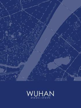 Wuhan, China Blue Map