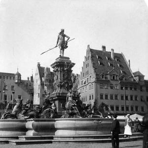 The Neptune Fountain, Nuremberg, Germany, C1900s by Wurthle & Sons