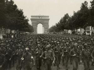 WW2 American Soldiers Marching During the Liberation of Paris, Aug. 26, 1944