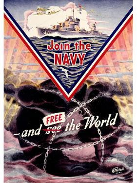WWII US Navy 'Join the Navy' Mine sweeper Poster