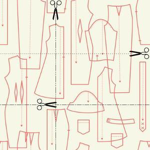 Illustrations on the Theme of Sewing (Elements Cut). Seamless Vector Pattern. by xenia_ok