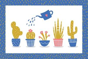 Cute Flowers and Cactus - Geometric by xenia800