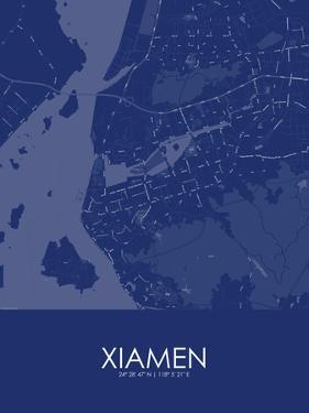 Xiamen, China Blue Map