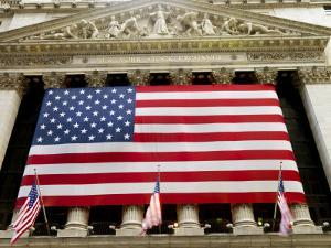 Facade of the New York Stock Exchange Draped in the American Flag by xPacifica