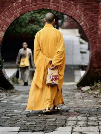Monk at the Shaolin Temple Carries a Burger King Bag as He Walks by xPacifica