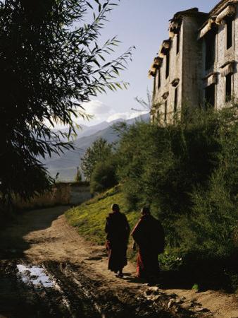 Monks Walk along a Path outside a Monastery by xPacifica