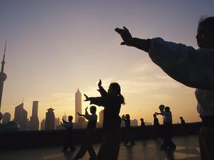 Tai Chi on the Bund in the Morning with Pudong in the Background by xPacifica
