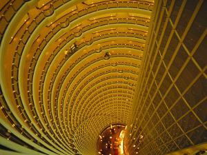 The Jin Mao Tower Looking down from the Grand Hyatt Hotel Levels by xPacifica