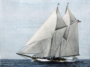 """Yacht """"America,"""" First Winner of the America's Cup Race, in a Later Rig"""