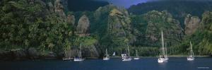 Yachts in a Bay, Marquesas Anchorage, French Polynesia