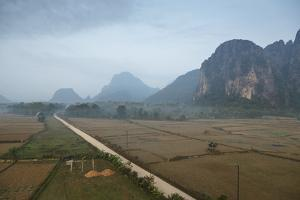 Aerial View of the Countryside around Vang Vieng, Laos, Indochina, Southeast Asia, Asia by Yadid Levy