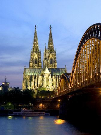 Cologne Cathedral, and Hohenzollern Bridge at Night, North Rhine Westphalia